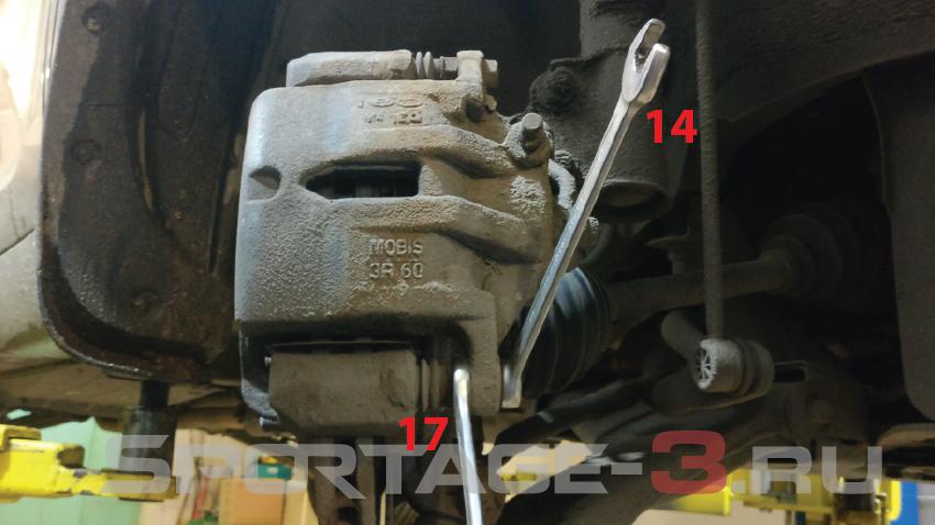 замена передних тормозных колодок на киа спортейдж 3
