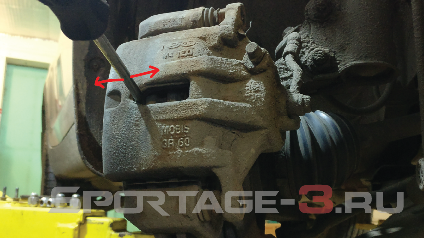 снимаем тормозной суппорт Sportage 3