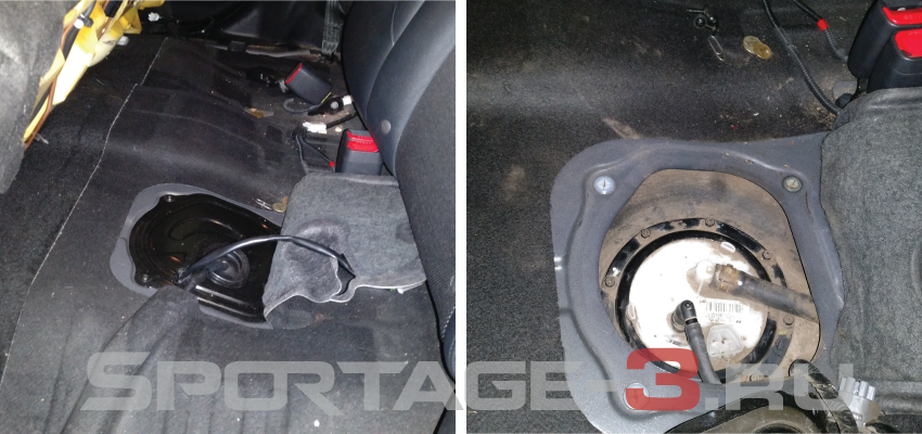 открываем люк бензобака Sportage 3