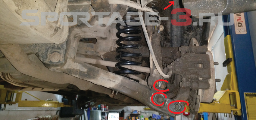 замена задних амортизаторов Sportage 3